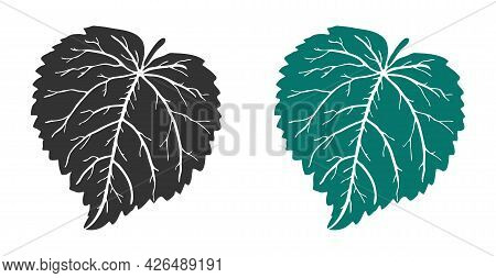 Linden Leaf Of Medicinal Tree In Black And Green Colors For Logo, Icon, Diary Decoration