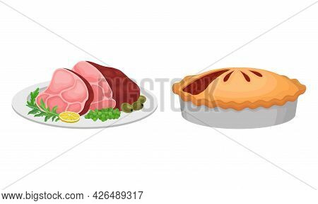 Meat Dish With Bacon And Baked Pie With Savory Stuffing Served On Plate Vector Set