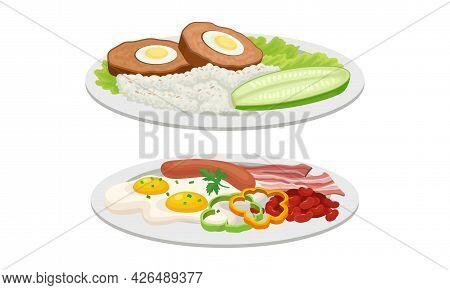 Meat Dish With Meatloaf And Scrambled Eggs With Sausage Served On Plate Vector Set