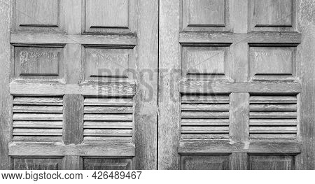 Closed Old Wooden Window. Vintage Gray Wooden Window Texture Background. Gray Wooden Window Decorati