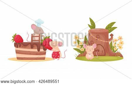 Pair Of Cute Mice Decorating Cake With Strawberry And Sitting Near Stump House Vector Set