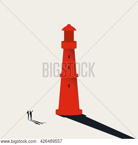 Business Opportunity And Vision Vector Concept. Symbol Of Lighthouse, Business Consulting. Minimal I