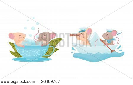 Pair Of Cute Mice Sailing On Boat And Bathing In Cup Vector Set