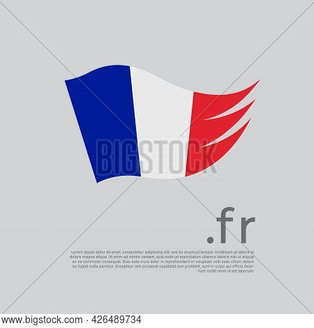 France Flag. Colored Stripes Of The French Flag On A White Background. Vector Stylized Design Nation