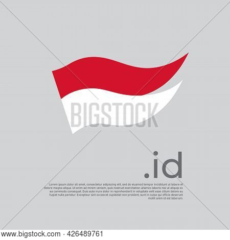 Indonesia Flag. Colored Stripes Indonesian Flag On A White Background. Vector Design Of National Pos