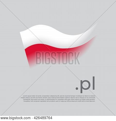 Poland Flag. Colored Stripes Of The Polish Flag On A White Background. Vector Stylized Design Nation
