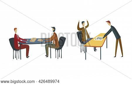 Business Meeting Of Entrepreneur And Worker In Office Discussing Plan And Strategy Of Company Vector