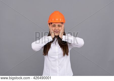 Labor Day. Glad Woman Worker In Shirt. Quality Inspector. Female Construction Worker.