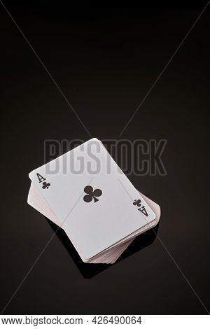 Full Deck Of Playing Cards With Ace On Top On Dark Reflective Background
