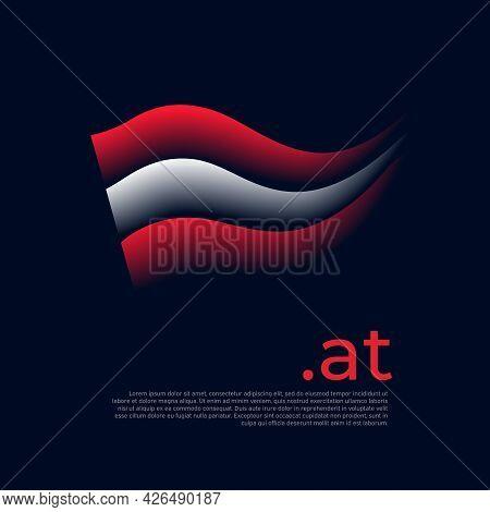 Austria Flag. Stripes Colors Of The Austrian Flag On A Dark Background. Vector Stylized Design Natio