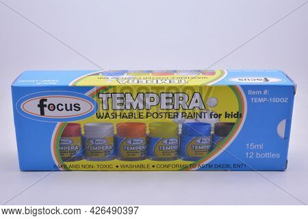 Manila, Ph - July 9 - Focus Tempera Washable Poster Paint Set On July 9, 2021 In Manila, Philippines