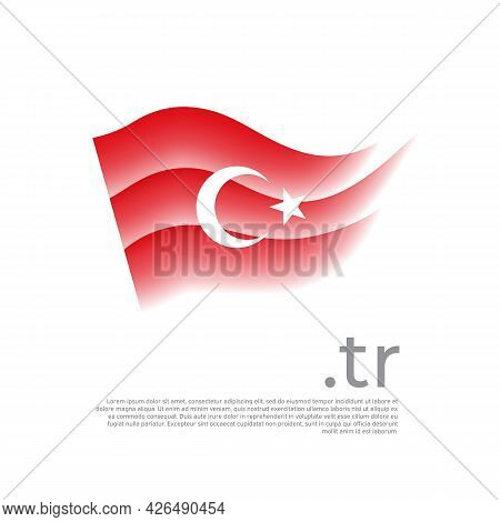 Turkey Flag. Colored Stripes Of The Turkish Flag On A White Background. Vector Stylized Design Of Na