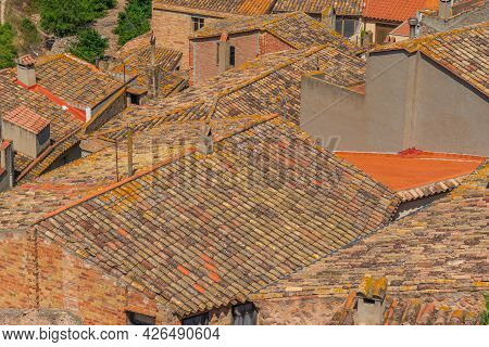 Roofs Of Old Spanish Houses At Pratdip, Catalunya Spain, Close Up