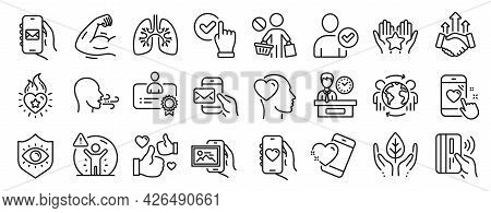 Set Of People Icons, Such As Contactless Payment, Stop Shopping, Heart Icons. Identity Confirmed, Me