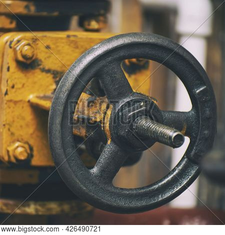 Industrial Valve On A Gas Supply Or Heating System Pipe. Selective Focus
