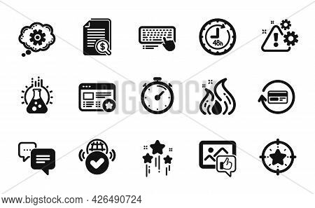 Vector Set Of Star Target, Verified Internet And Chemistry Lab Icons Simple Set. Cogwheel, Fire Ener