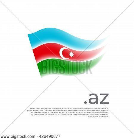 Azerbaijan Flag. Stripes Colors Of The Azerbaijani Flag On A White Background. Vector Design Nationa