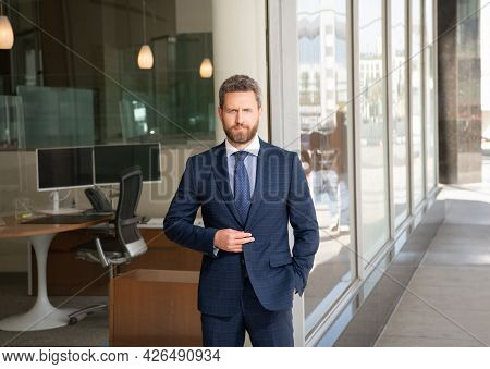 Mature Bearded Man Businessperson In Businesslike Suit Outside The Office, Business Success