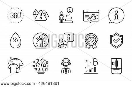 Line Icons Set. Included Icon As Seo Marketing, Fireworks Stars, Hot Water Signs. 360 Degrees, Warni