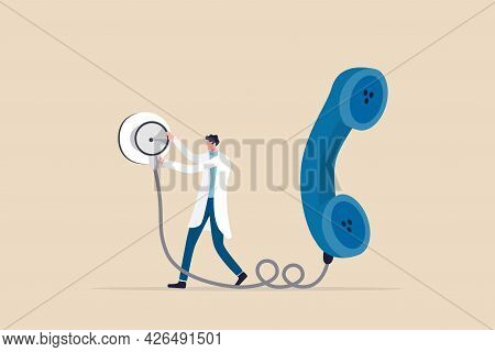 Telehealth Or Telemedicine Service, Technology That Doctor Can Diagnose Or Consult Patient Via Telep