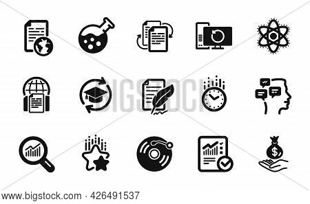 Vector Set Of Bureaucracy, Chemistry Lab And Checked Calculation Icons Simple Set. Continuing Educat
