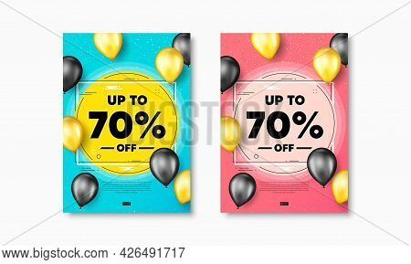 Up To 70 Percent Off Sale. Flyer Posters With Realistic Balloons Cover. Discount Offer Price Sign. S