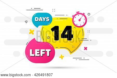 Fourteen Days Left Icon. Countdown Number On Abstract Flow Pattern. 14 Days To Go Sign. Count Offer