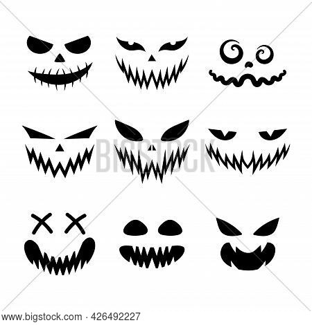 Set Of Scary And Funny Faces For Halloween Pumpkin Or Ghost. Jack-o-lantern Facial Expressions. Simp