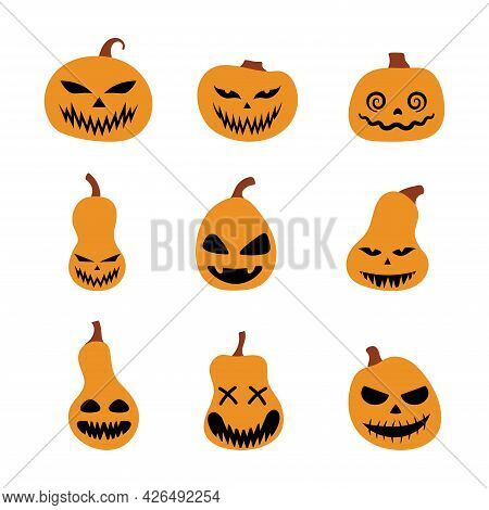 Halloween Scary Pumpkins Set. Illustration Of Jack-o-lantern Facial Expressions. Simple Collection S