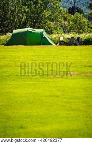 Camping. Tent On Campsite In Summer. Lofoten Archipelago Norway. Holidays And Travel.
