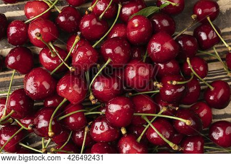 Fresh Ripe Sweet Cherry Texture And Background Flat-lay Of Wet Sweet Cherries, Top View Summer Food
