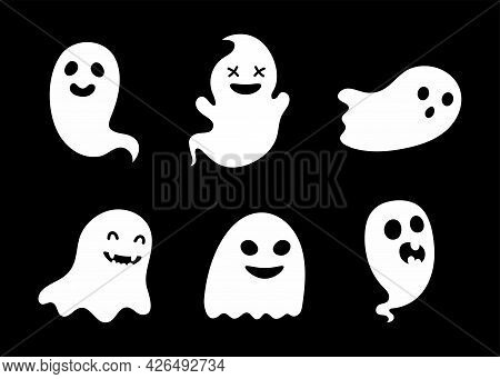 Set Of Cute Ghosts. Scary Horror Design Decoration For Halloween Party. Cartoon Spooky Character For