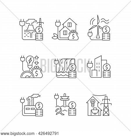 Energy Prices Linear Icons Set. Hydro, Wind Power Production Cost. Expense For Sustainable Generatio