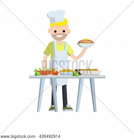 Flat Man Cook Holding Plate Of Food. Table With Delicious Meal And Dishes. Element Of Kitchen. Carto