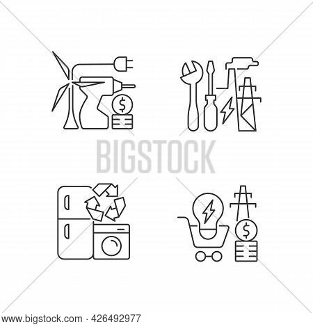 Alternative Energy Cost Linear Icons Set. Equipment Installation. Electricity Consumption Price. Cus
