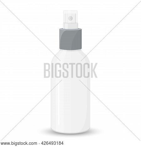 White Empty Spray Bottle With Transparent Cap, Cosmetic Package, Vector Template For Advertising, Mo