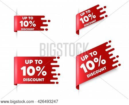 Up To 10 Percent Discount. Red Ribbon Tag Banners Set. Sale Offer Price Sign. Special Offer Symbol.