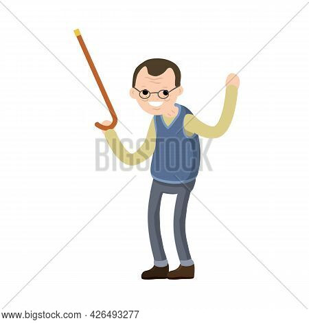 Funny Old Man With Cane. Senior Point Direction. Gesture Of Raised Hands Up. Active Lifestyle And Re