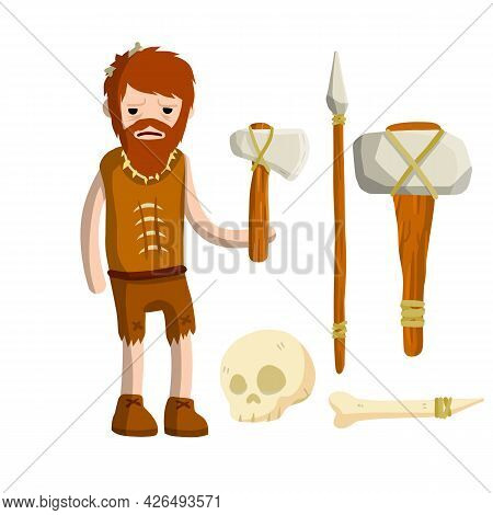 Primitive Caveman. Prehistoric Hunter. Stone Age. Man With An Axe Or A Hammer.