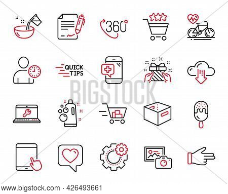 Vector Set Of Business Icons Related To Click Hand, Medical Phone And Photo Camera Icons. Cardio Bik