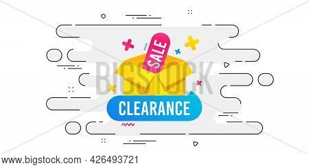 Clearance Sale Banner. Geometric Ad Banner On Flow Pattern. Discount Sticker Box. Special Offer Icon