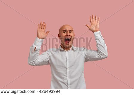 Portrait Of Mad Bald Man With Bristle Keeps Hands Over Head, Showing Palms, Has Horror Expression, S