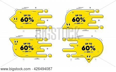 Up To 60 Percent Off Sale. Cartoon Face Transition Chat Bubble. Discount Offer Price Sign. Special O
