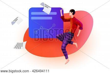Man Flies Around Business Solution Elements. Data Analysis. Business Analyst.