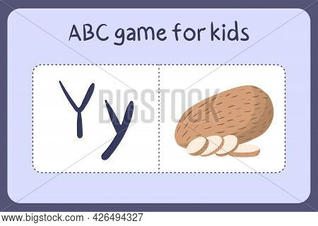 Kid Alphabet Mini Games In Cartoon Style With Letter Y - Yam . Vector Illustration For Game Design -