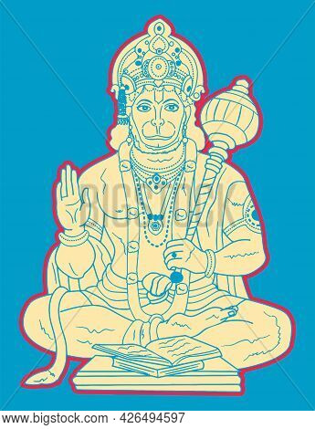 Sketch Of Hindu Powerful God Lord Hanuman Editable Outline Illustration
