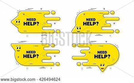Need Help Text. Cartoon Face Transition Chat Bubble. Support Service Sign. Faq Information Symbol. N