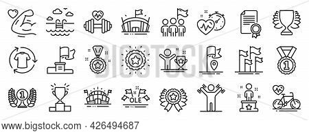 Set Of Sports Icons, Such As Sports Arena, Ole Chant, Dumbbells Workout Icons. Winner Star, Winner C