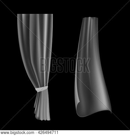 Transparent Drapery. Waved Curtain. Realistic Flowing Lightweight Cloth. Interior Decoration Templat