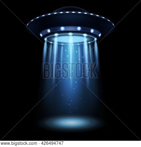 Ufo. Realistic Alien Spaceship With Light Beam. Futuristic Sci-fi Unidentified Spacecraft. 3d Flying